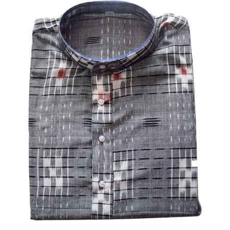 Handloom Sambalpuri Pasapalli Cotton Kurta in Grey, White AJ001198 (Size-42)