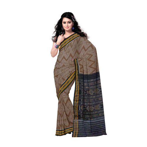 OSS133: Deep Brown Tarabali Design Cotton Saree for gifting