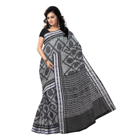 OSS7001: Grey with Black Handloom cotton sarees