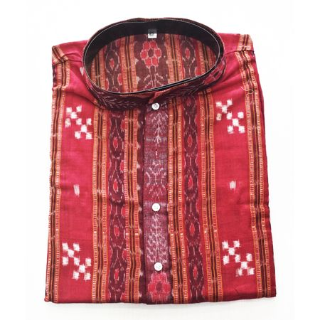 Deep Red With Multi Sambalpuri Handloom cotton Kurta for Men made in Odisha Sambalpur AJ001767