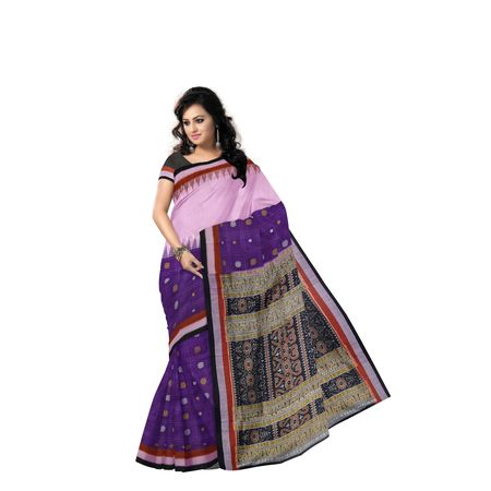 Purple with Pink Handloom Design Cotton saree with Blousepiece AJ001218