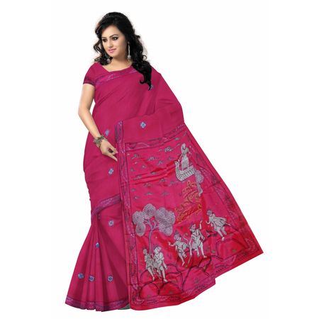 OSS300126: Rani color Hand painted Synthetic Mythological Silk saree for party wear.