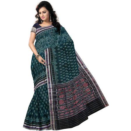 OSS7414: Handwoven designer Green cotton sarees for puja wear