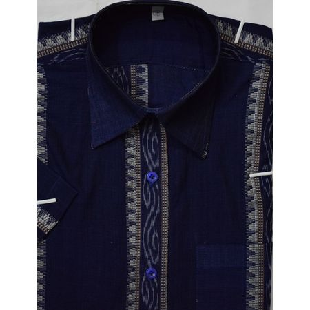 OSS9025: Blue color Ikat design handwoven cotton shirt for Men