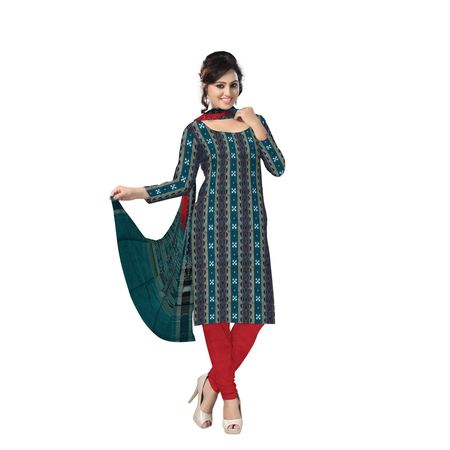 AJ000136: Exclusive Handloom Traditional Green and Red Pasapalli Ikat Cotton Dress Material.