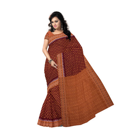 OSS1014: Stunning Ikat design hand woven maroon cotton saree of Sambalpur