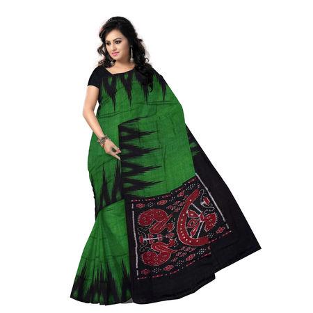 OSS7576: Green-black combination kargil design handmade cotton saree