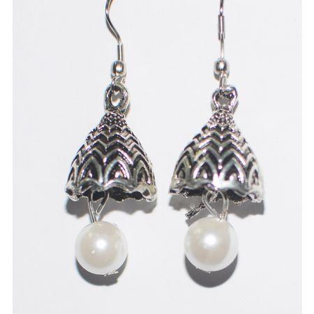 Black Metal Oxidized Handmade Rajasthani Earrings Jhumkas AJ001416