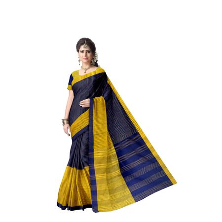 Check Design Navy Blue With Gold Jharna Handloom Cotton Saree Of West Bengal AJ001461