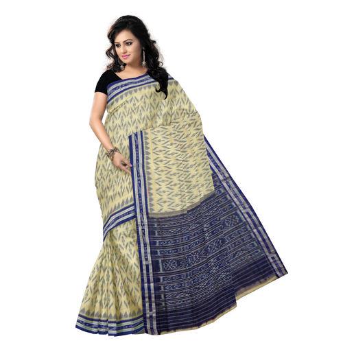 OSS7329: Off-White Ikat design Cotton Sarees of Odisha