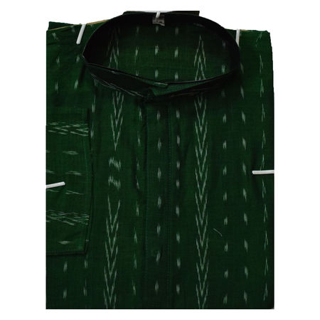 OSS620: Ikat design green Men's cotton Kurta for ethnic partywear use