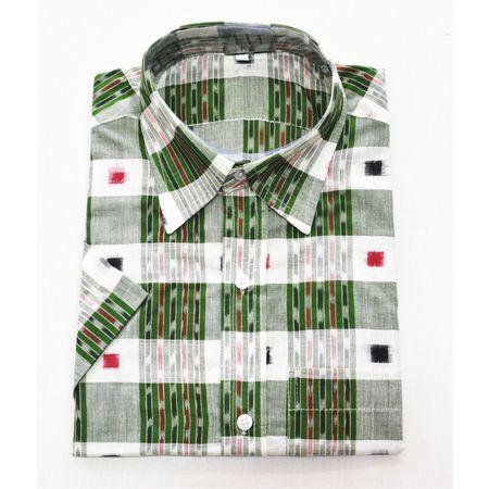 Green With Multi Handloom Half Shirt for Men Made in Odisha Sambalpur AJ001765