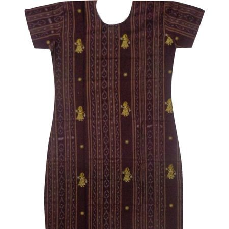 OSS8459: Maroon color Handloom cotton Kurti for Girls.
