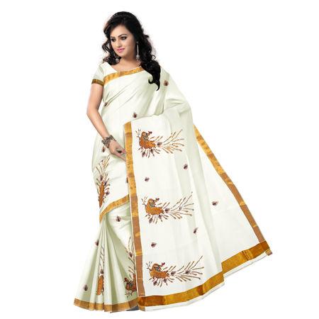 OSSKL003: White color Peacock designed handloom kasavhu cotton sarees.