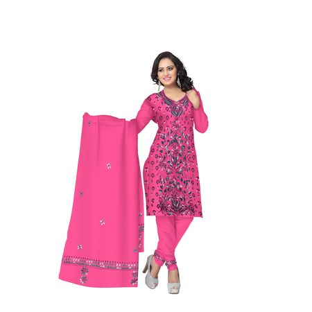 Pink Embroidery Work Handloom Cotton Dress Material of West Bengal AJ001472