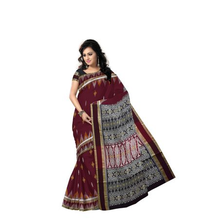 Deep Red With Black Handloom Bomkai Cotton saree made in odisha Sonepur AJ001514