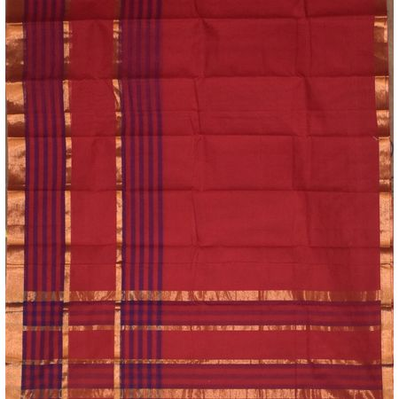 Red with Golden Handloom Kanchi cotton saree AJ001241