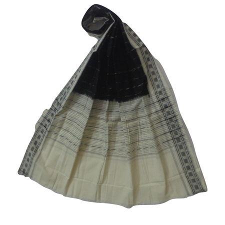 OSS136: Ethnic Ikat design Black-White cotton dupatta