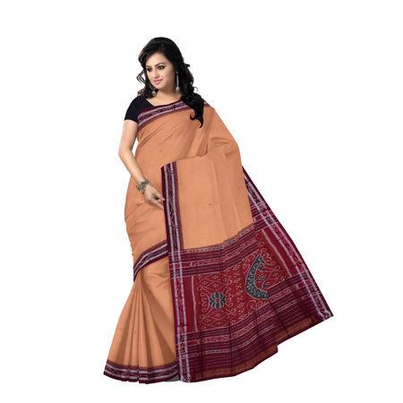 OSS7564: Sandalwood colour buti design hand woven cotton saree