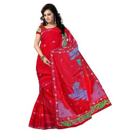 OSS300089: Red color synthetic Silk patachitra saree for party wear