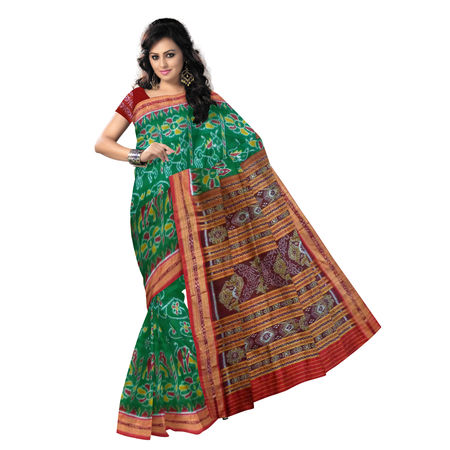 OSS5161: Traditional Deep Green with Maroon Khandua Silk Saree.