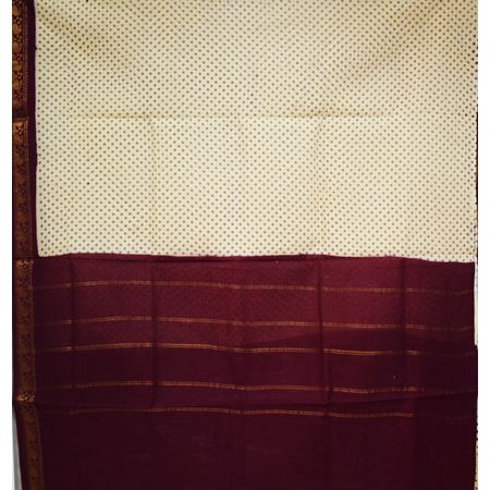 Sandal With Maroon Handloom Body Print Cotton Saree Of Telangana AJ001246
