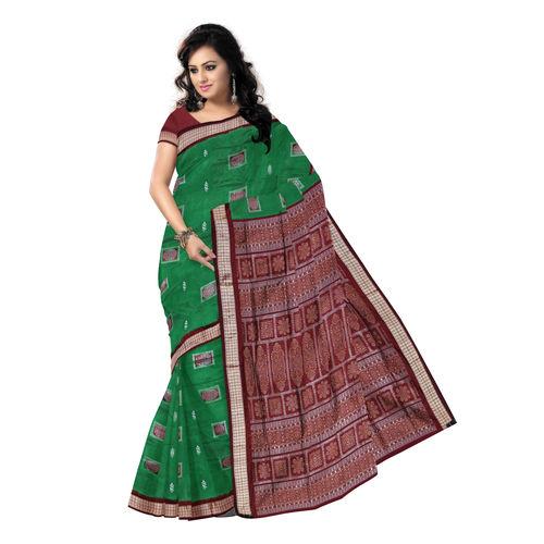 OSS020: Green Bomkai silk saree of Sonepur, ideal for bridal wear