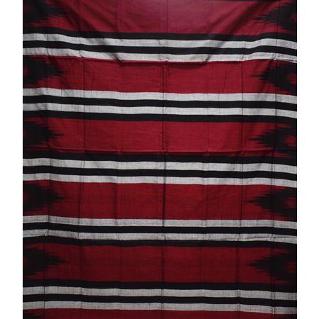 Kargil Design Brownish Red With Black Handloom Cotton Saree of Odisha, Nuapatana AJ001558