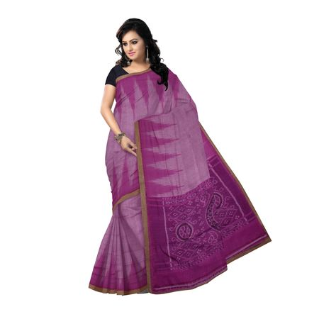 OSS2050: Light Purple colour handwoven cotton saree for women
