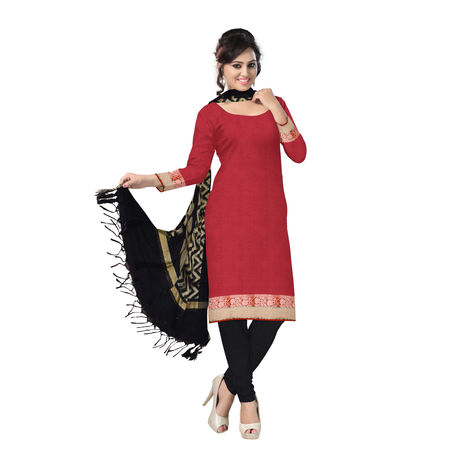 OSSUP108: Red and Black Banarasi Silk Unstitched Dress Material
