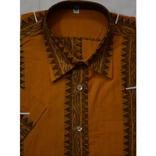 OSS7027: Trendy Orange-Yellow colour handwoven shirt