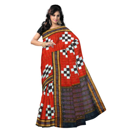 OSS069: Exclusive Red & black Pasapalli Check design Sambalpuri Traditional ikat Cotton Saree