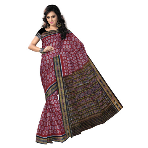 OSS246: Special Design Maroon Colour Handwoven Cotton Saree., maroon