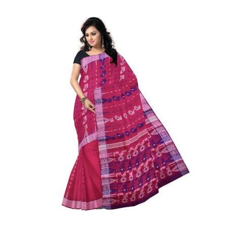 AJ000139: Pink Baluchari cotton saree of West Bengal