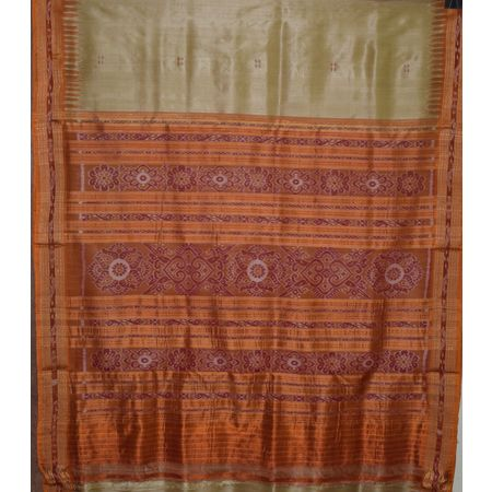 Buti Design Tusser Color with Orange Handloom Silk saree of Odisha Nuapatna AJ001298