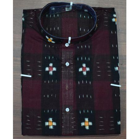 Handloom Sambalpuri Pasapalli Cotton Kurta in Maroon, Black AJ001197