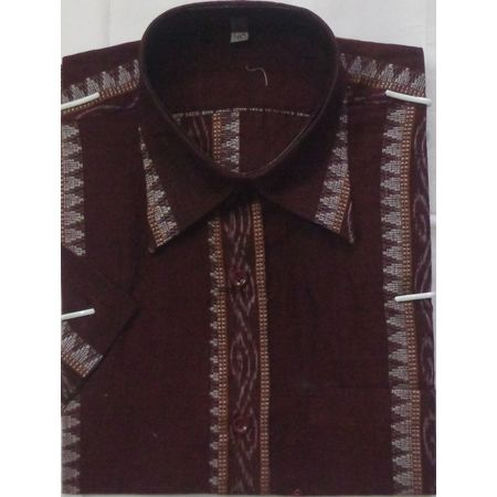 OSS3459: Sambalpuri Coffee color handwoven shirt for Men