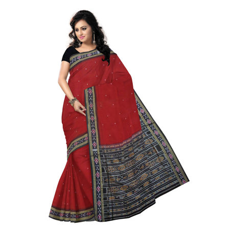 OSS451: Buti with Pasapalli Border Maroon handloom cotton saree