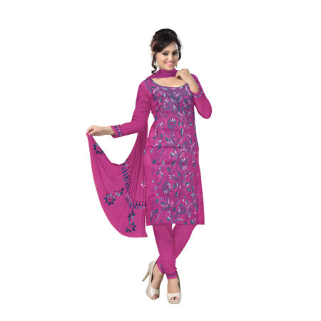 OSSWB9059: Pink Embroidery Work Salwar Suit Material of Bengal