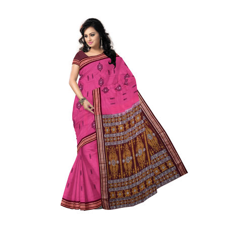 AJ000119: Pink with Maroon Handloom Bomkai cotton saree with Blousepiece