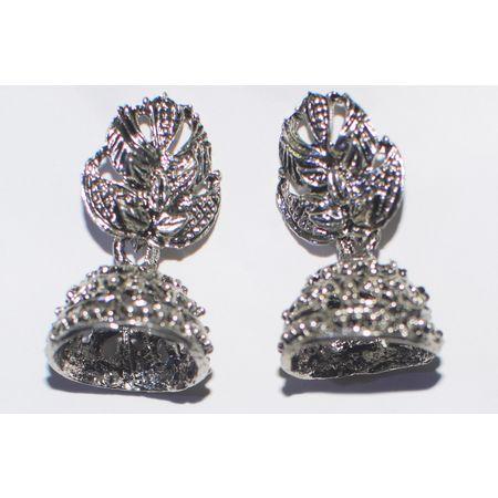 Black Metal Oxidized Handmade Rajasthani Earrings Jhumkas AJ001417