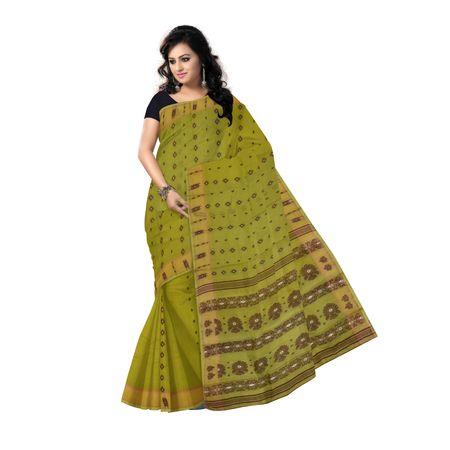 OSSWB097: Olive Green Baluchari cotton saree of West Bengal