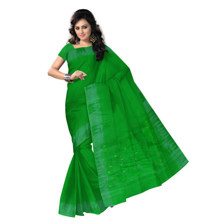 OSSWB099: Green Color Dhakai Jamdani of Bengal cotton sarees online shopping
