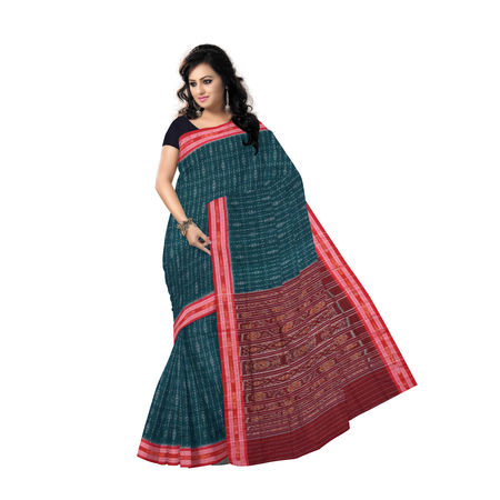 OSS7560: Ikat design Bottle Green color handmade Sambalpuri cotton saree