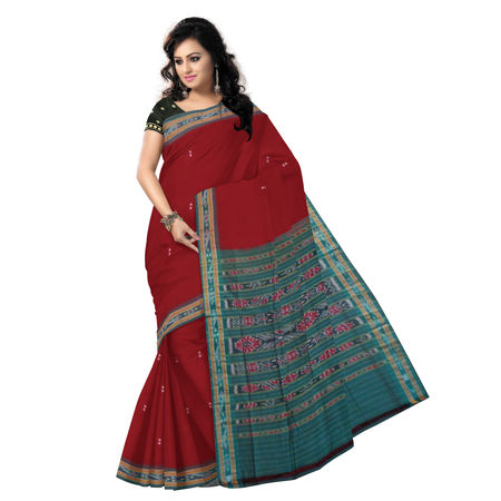 OSS235: Maroon buti design hand woven traditional cotton saree