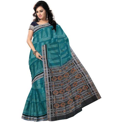 OSS7327: Exclusive Green handloom saree Alpana or Jhoti design for festival wear