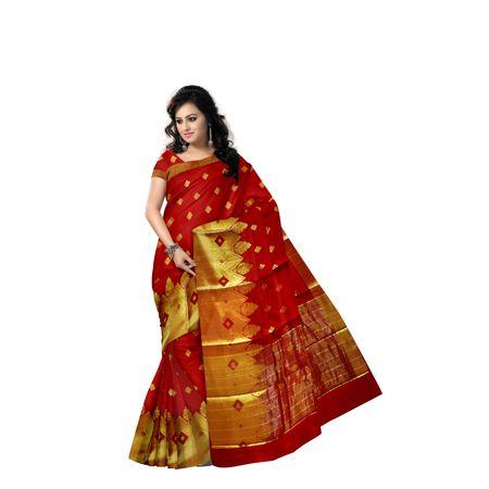 Light Red With Golden Handloom Temple Design Banaras cotton Silk Saree of Uttar Pradesh AJ001577
