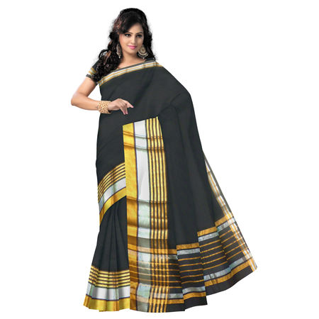OSSTG014: Latest collection Handwoven Black kanchi cotton saree