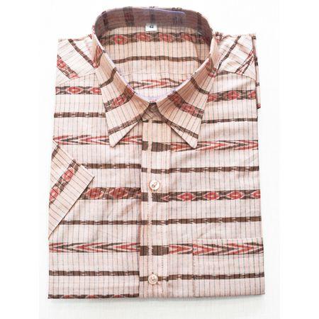 Faded Brown With Multi Handloom Half Shirt for Men Made in Odisha Sambalpur AJ001774