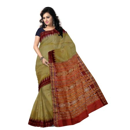 OSS5141: Matha color Handwoven Khandua Silk Saree of Nuapatna